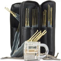 24-Piece Practice Padlock Tool Set with Professional Locksmiths Gift for Kids - Black