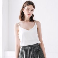 Silk Sling Vest For Women Sexy Thin Strap Jumper Summer Bottom Vest Women Sleeveless Tank Top V-neck  Solid Color Camisole