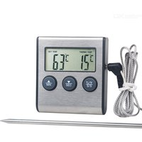 1pc Kitchen food thermometer Digital Probe Oven  Meat Thermometer Timer for BBQ Grill Meat Food Cooking