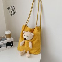 Large Capacity Shoulder Bag Bear Handbag Plush Canvas Bag For Women