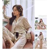 New ice silk home service autumn and winter leopard print apricot Korean style lapel long-sleeved trousers pajamas home service