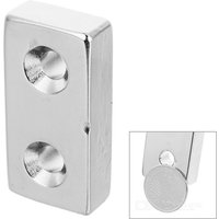 40*20*10mm Rectangular NdFeB Magnet w/ Double Sink Holes - Silver