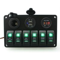 S8237 6-Gang Waterproof Aluminum ON-OFF Switch Panel w/ Green LED