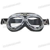 Vintage Folding Transparent Lenses Motorcycle Goggles Glasses with Elastic Strap
