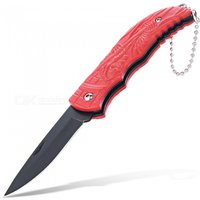 Sharp Skull Pattern Foldable Knife with Key Ring for Camping - Red