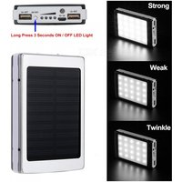 Cwxuan Portable 5V 8000mAh Lithium Polymer Battery, Mobile Solar Power Bank with Dual USB Ports, 20-LED Light - Silver