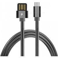 Cwxuan Stainless Steel Spring Micro USB Fast Charging Data Cable for Xiaomi, Huawei, HTC - Black