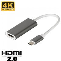 Cwxuan USB 3.1 Type-C (Thunderbolt 3) to HDMI 4K UHD Adapter Connection Cable - Gray