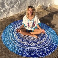 Polyester Lotus Flowers Round Yoga Blanket Mat, Breathable Mandala Wall Hanging Decor Art Picnic Beach Towel Blanket Blue