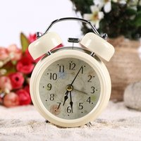 Household Retro Vintage Cool Alarm Clock Round Number Double Bell Desk Table Digital Clock Home Decor - White