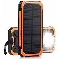 ZHAOYAO 30000mAh DC 5V Dual USB Solar Power Bank Charger with 2835SMD-6LEDs White Light and Strap