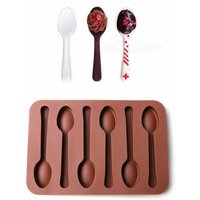 6 Holes Spoon Shape Chocolate Mold, Silicone DIY Cake Decoration Mold, Jelly Ice Baking Mould, Spoon Cake Moulds Chocolate