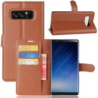 PU Leather Flip Open Back Full Body Case w/ Stand for Samsung Galaxy Note 8