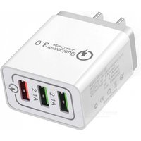 Cwxuan 18W Quick Charge 3.0 Mobile Phone Charger, 3 Port USB EU Fast Charging Adaptor for IPHONE Xiaomi, Huawei, Vivo, Samsung