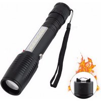 New COB LED Rechargeable Super Bright Flashlight, Outdoor 300m Long Range Zooming Torch Lamp With Rear Ignitor White/Black