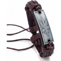 New Vintage Fashion Wrap Hemp Rope Belt Maple Leaves Charm Leather Bracelet For Men, Handmade Jewelry Brown