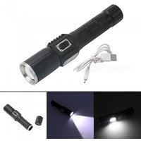 USB Rechargeable T6 LED Flashlight Outdoor Waterproof Bright Zoom Flashlight Torch With Warning Light White/Black