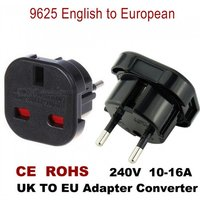 Mini Portable UK To EU Plug Adapter Socket Converter For Travel Use Black