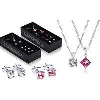 The Gemseller 7er-Schmuck-Set rund oder quadratisch mit Anhängern, Ohrringen, Halskette und mit Swarovski®-Kristallen