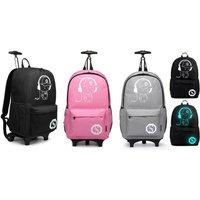 Kono leuchtender Trolley-Rucksack in Schwarz, Grau oder Pink für Kinder
