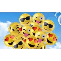 16 Emoji-Luftballons (Motive: Sunglasses, Wink Tongue, Heart Eyes und Kissy Face)