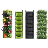 1x oder 2x hängende Pflanztasche mit 7 Fächern in Grün und oder Schwarz