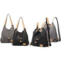 Kono multifunktionale 2-in-1 Canvas-Schultertasche und Rucksack in Schwarz, Khaki und Grau