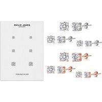 1x oder 2x Philip Jones 3er-Set Ohrstecker mit Kristallen von Swarovski® in Silber oder Roségold