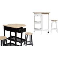 Selsey Living Möbel-Set Auri mit Tisch und 2 Hockern in Schwarz oder Weiß für Küche und Wohnzimmer