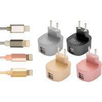 1x oder 2x USB-Ladegerät für Apple iPhone, optional mit 1 m iPhone Ladekabel mitLightning® Connector