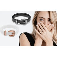 The Gemseller Damenring aus Keramik in Weiß oder Schwarz verziert mit Kristallen von Swarovski®