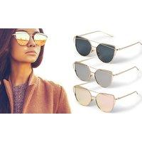 1x, 2x oder 3x Katzenaugen-Sonnenbrille mitverspiegelten Gläsernfür Damen in Roségold, Schwarz oder Grau