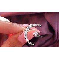 1x oder 3x Offener Damen-Ring mit Mondsichel und Stern verziert mit Kristallen
