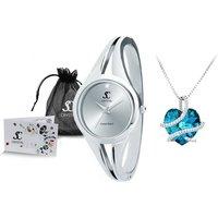 Set Crystal Paris Damen-Armbanduhr oder/und Halskette verziert mit Swarovski®- oder Bohemia-Kristallen