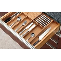 One or Two Expandable Bamboo Cutlery Drawer Organisers with Integrated Knife Block