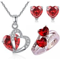 Ruby RedColoured Cubic Zirconia Pendant, Earrings and Ring Set