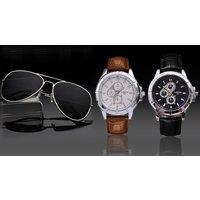 Herren-Armbanduhr Londa in Weiß oder Schwarz, optional inkl. Pilot-Sonnenbrille