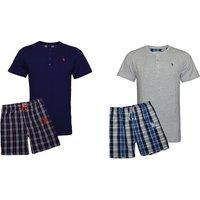 US Polo Assn Pyjama mit Shirt und kurzer Hose für Herren in Navy-Blau oder Grau-Blau und in der Größe nach Wahl