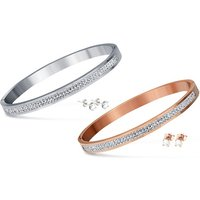 1x oder 2x Armreif und Ohrstecker mit Swarovski®-Kristallen in Silber oder Roségold