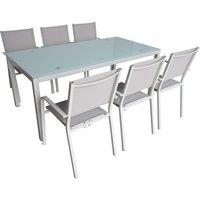 Jet-Line Modernes Gartenmöbel-Set aus pulverbeschichtetem Metall mit 6 Stühlen
