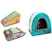 Katzenhöhle mit Kratzfläche oder Kratzbrett im Käse- oder Maus-Design