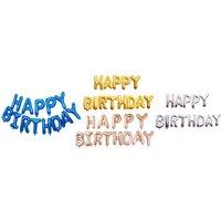 1x, 2x oder 3x Happy Birthday Luftballons-Banner in der Farbe nach Wahl