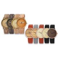 1x oder 2x Damenuhr mit Lederimitationsarmband und / oder in Holzoptik