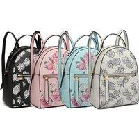 Miss Lulu Mini Rucksack für Damen mit Floral- oder Ananas-Motiv in der Farbe nach Wahl