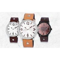 1x oder 2x Excellanc Herren-Armbanduhr mit Datumsanzeige in Dunkelbraun, Dunkelbraun/Weiß oder Hellbraun/Weiß