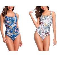 1x oder 2x Badeanzug mit Blumen-Muster in Blau oder Weiß in der Größe nach Wahl