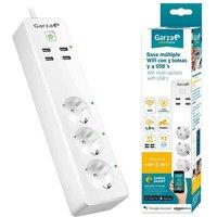 Garza SmartHome Regleta Múltiple Inteligente WiFi 3 Tomas + 4 USB
