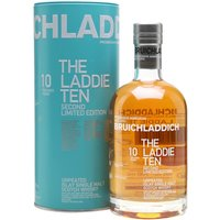 70cl / 50% / Distillery Bottling - The second edition of Bruichladdich's The Laddie Ten has been aged in a combination of first-fill bourbon, sherry and French-wine casks. This unpeated Islay whisky has notes of peach, melon, raisin, ginger and honey.