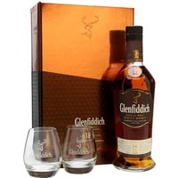 Glenfiddich 18 Year Old / 2 Glasses Gift Pack Speyside Whisky