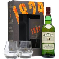 70cl / 40% / Distillery Bottling - A gift set containing a bottle of a Glenlivet 12 Year Old and a pair of glasses. One of the most famous malts in the world.  Glenlivet 12yo has a soft smooth balance of sweet summer fruits and the floral notes of spring flowers.